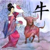 Chinesisches Jahrzeichenhoroskop mit Geisha Lizenzfreie Stockfotografie