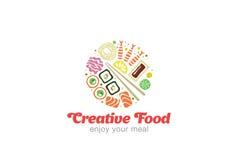 Chinesisches japanisches Sushi-Sashimi-Meeresfrüchte-Logodesign Lizenzfreies Stockfoto