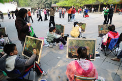 Chinesisches Kindmalen Stockfotos