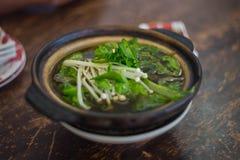 Chinesisches Lebensmittel Eintopfgericht von Schweinefleisch und von Kräutersuppe Lizenzfreie Stockfotos