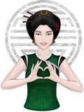 Chinesisches Mädchen, das Herz durch Finger zeigt Stockfoto