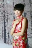 Chinesisches Mädchen in den Schneeszenen Stockfotografie