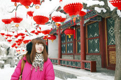 Chinesisches Mädchen im neuen Jahr Lizenzfreies Stockbild