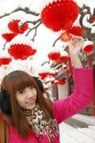 Chinesisches Mädchen im neuen Jahr Stockbilder