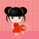Chinesisches Mädchen mit Laterne Lizenzfreies Stockfoto