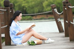 Chinesisches Mädchenlesebuch Blonde schöne junge Frau mit Buch sitzen auf Brücke nahe Zaun Stockfotografie