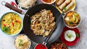 Chinesisches Nahrungsmittelset Asiatische Artlebensmittel-Konzeptzusammensetzung stock video footage