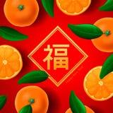Chinesisches neues Jahr, mit orange Mandarinen tragen an Früchte Lizenzfreies Stockbild