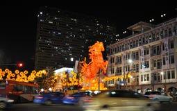 Chinesisches Neujahrsfest mit Pferd-themenorientierten Dekorationen Lizenzfreies Stockfoto