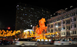 Chinesisches Neujahrsfest mit Pferd-themenorientierten Dekorationen Lizenzfreie Stockfotos