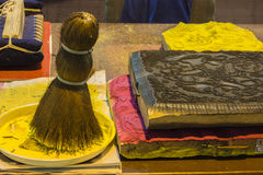 Chinesisches Neujahrsfest stellt hölzerne geschnitzte Platte dar Lizenzfreies Stockbild