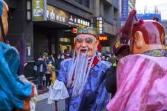 Chinesisches Neujahrsfest, Volksglaube an Taiwan, die Laternen-Festivaltempelparade, ein enormer Gott sogar, lizenzfreie stockbilder