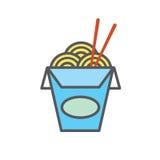 Chinesisches oder asiatisches Restaurant nehmen den Kasten heraus, der mit Nudeln gefüllt wird - sagt ` Nudeln ` in den japanisch lizenzfreie abbildung