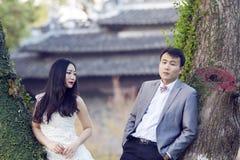 Chinesisches Paarhochzeit portraint vor alten Bäumen und Altbau Lizenzfreie Stockfotos