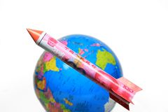 Chinesisches RMB Rocket Steigen Lizenzfreie Stockfotos