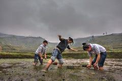 Chinesisches Schulmädchen, das an überschwemmtem Landwirtfeld arbeitet Stockfotografie