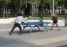Chinesisches Spiel-Tischtennis Stockfotos