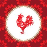 Chinesisches Sternzeichenjahr des Hahns Roter Hahn mit weißer Verzierung stock abbildung