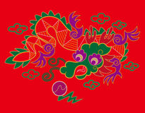 Chinesisches Stickereidrachemuster Lizenzfreies Stockfoto