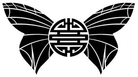 Chinesisches Symbol des doppelten Glückes mit den Schmetterlingsflügeln lokalisiert Lizenzfreie Stockfotos