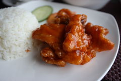Chinesisches Tellerschweinefleisch im Teig und Soße mit gedämpftem Reis Lizenzfreie Stockbilder