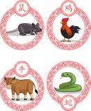 Chinesisches Tierkreis-Tier - Ochse, Ratte, Hahn u. Schlange vektor abbildung