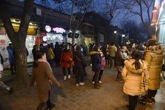 Chinesisches Volk Peking-Nachtmarkt- Stockbilder
