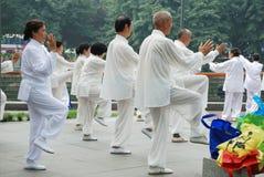 Chinesisches Volk spielt taiji stockfotografie