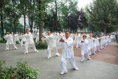 Chinesisches Volk spielt taiji stockfotos