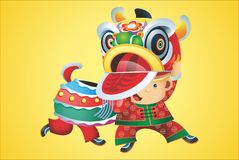 Chinesse Lion. A of chinesse lion dance vector illustration