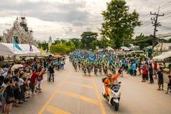 CHING RAI,泰国, 8月16-2015 :这个事件为妈妈事件的自行车准备从泰国 妈妈受尊敬的事件展示的自行车 免版税库存图片