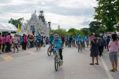 CHING RAI,泰国, 8月16-2015 :这个事件为妈妈事件的自行车准备从泰国 妈妈的自行车 免版税库存图片
