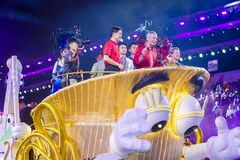 2018 Chingay parade. SINGAPORE - FEB 24 : Singapore Prime Minister Lee Hsien Loong in a float procession during the Chingay parade in Singapore on February 24 Stock Photos