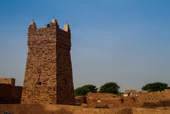 Chinguetti moské, ett av symbolerna Mauretanien arkivbilder