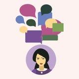 Chinise härliga trevliga kvinnor med pratstundmeddelandet Företagsstöd arkivfoton