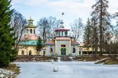 Chinise Pavilion in Catharine Park in Tsarskoye Selo Stock Photos