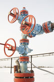 Chink. Oil well in a frosty winter icy cold Stock Photography