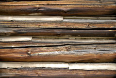 Chinked logs. Close view of old, aged log house side wall exterior in direct sunlight Stock Photos