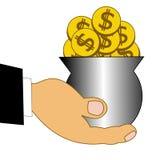 Chinks dólares en un pote metálico en una mano Imagen de archivo