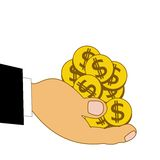Chinks dollars on a hand, illustration Royalty Free Stock Images