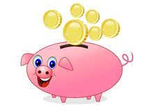 Chinks fall in a pig money-box on white background Stock Photo