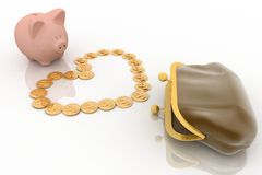 chinks and  piggy bank Royalty Free Stock Images