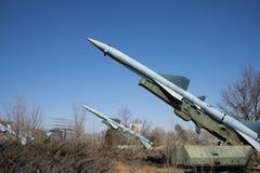 Chino asiático, museo de la aviación de Pekín, misil de la defensa aérea foto de archivo