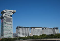 Chino asiático, Pekín, arquitectura moderna, plaza de Pangu, Foto de archivo libre de regalías
