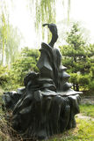 Chino asiático, Pekín, parque internacional de la escultura, los ancianos, guzheng Imagen de archivo