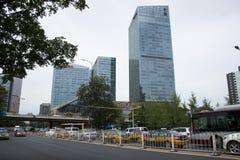 Chino asiático, Pekín, paso superior, edificio, tráfico Foto de archivo libre de regalías