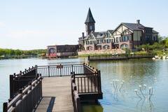 Chino asiático, Tianjin Wuqing, expo verde, lago, castillo Fotos de archivo libres de regalías
