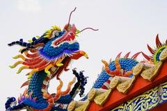 Chino concreto colorido Dragon Statue Fotografía de archivo libre de regalías