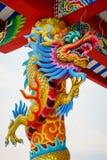 Chino concreto colorido Dragon Statue Imagen de archivo