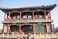 Chino de Asia, parque de Pekín, lago Longtan, edificio del jardín Fotos de archivo libres de regalías